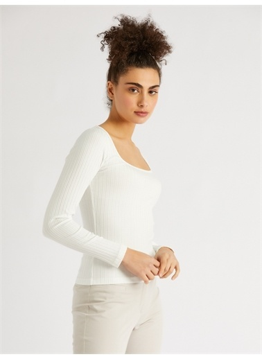 Vekem-Limited Edition U Yaka Pamuklu Bluz Beyaz